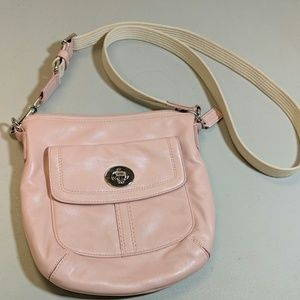Coach Pink Leather Crossbody Bag Flap Front